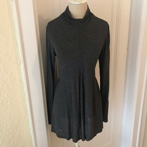 Joan Vass Grey Viscose Turtleneck Trapeze Dress